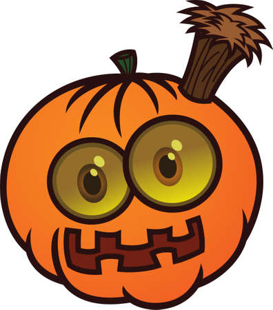 stake: Pumpkin Monster Stabbed with Wooden Stake Vector Cartoon Illustration Illustration
