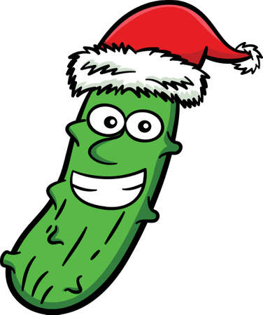 Christmas Pickle with Santa Claus Hat Cartoon