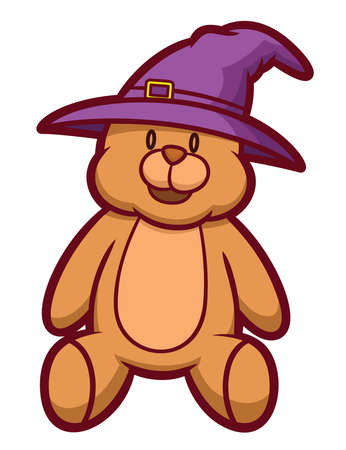 wizard hat: Teddy Bear Wearing Wizard Hat Cartoon Illustration Isolated on White