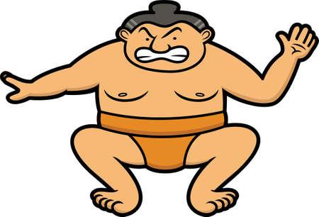 Sumo Wrestler Cartoon Illustration