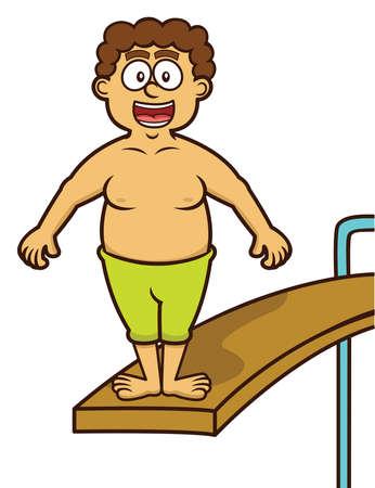 Man Standing on Swimming Pool Jump Board