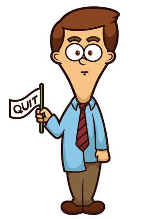 quit: Businessman with Quit Flag Cartoon Illustration Illustration