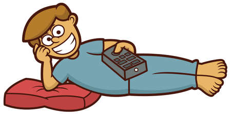 man lying down: Man Watching TV with Remote Control in Hand While Lying Down with Pillow Cartoon Illustration