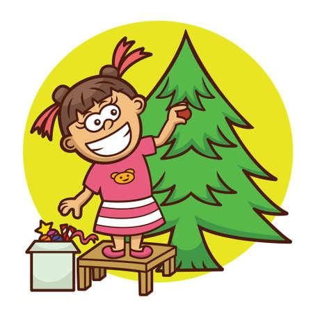 decorating: Little Girl Decorating Christmas Tree Cartoon Illustration Illustration