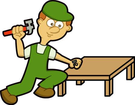 Handyman Hammering Nail in Wooden Table Cartoon Illustration