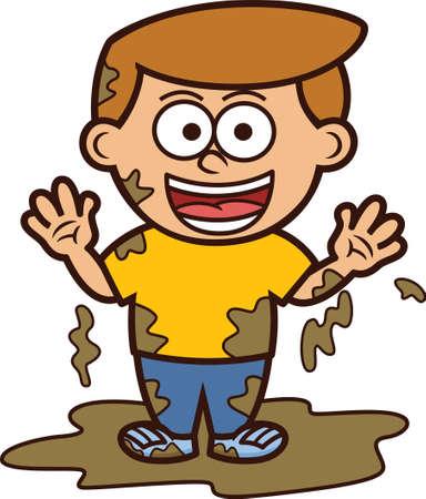 Kleine Jongen Spelen In Vuile Modder Beeldverhaal Illustratie Vector Illustratie