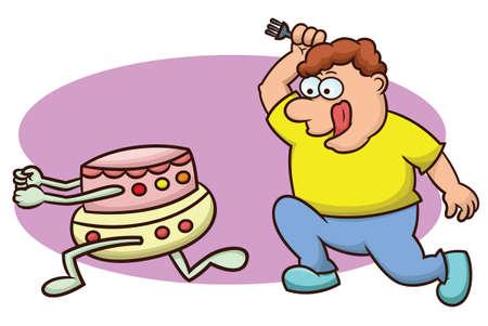 Fat Man Chasing Cake Cartoon Illustration Ilustração