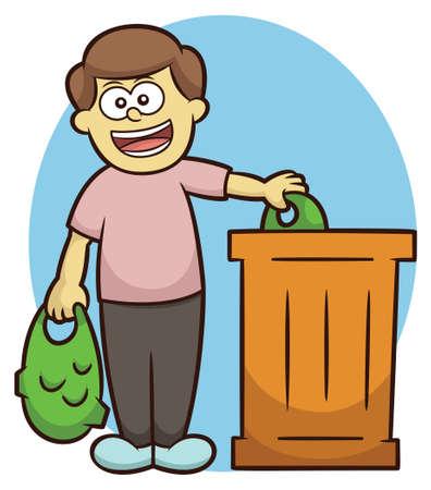 throwing: Man Throwing Trash into Trash Bin Cartoon Illustration