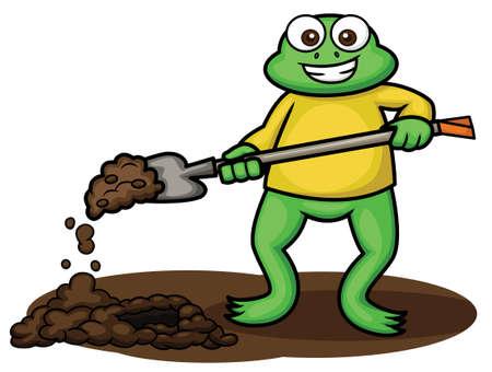digging: Frog Digging with Digging Spade Cartoon Illustration