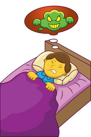 Boy Having Nightmare Cartoon Illustration Ilustração