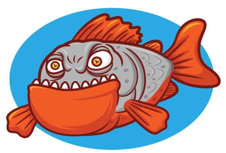 Wild Piranha Fish Cartoon Character Illustration