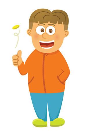 Boy Flipping Coin Cartoon Illustration