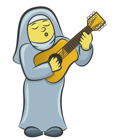 Nun Playing Guitar Cartoon Illustration