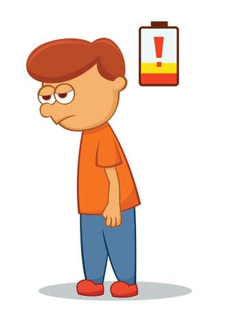 weary: Low Battery Man Cartoon