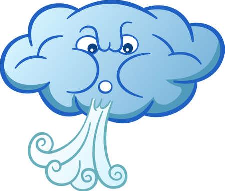 Nube de la historieta del viento que sopla