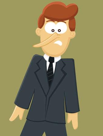 Pinocchio Geschäftsmann Cartoon Illustration isoliert auf weiß Vektorgrafik