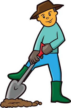 Farmer Digging Soil Cartoon Illustration Illustration