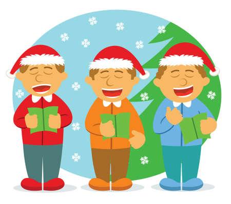 carolers: Men Choir Singing For Christmas Illustration