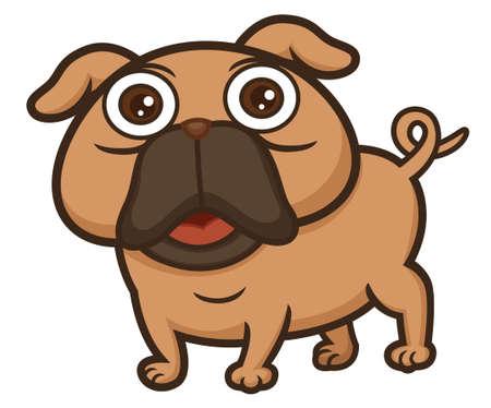 Pug Cartoon Vektoros illusztráció