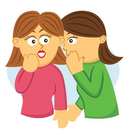 Girls Gossiping Cartoon Illustration Illustration
