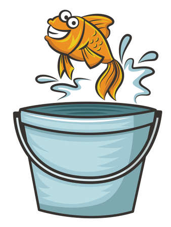 goldfish jump: Goldfish Jumping from Bucket Cartoon Illustration