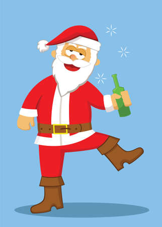 belch: Drunk Santa Cartoon Illustration Illustration