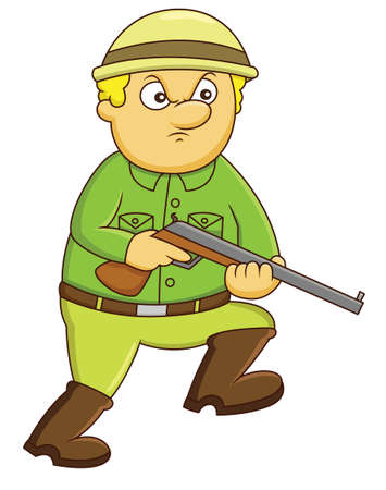 Hunter with Rifle Gun Cartoon