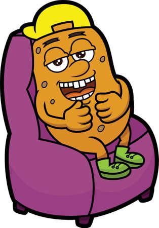 Couch Potato Cartoon Ilustración Vectores