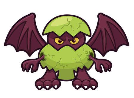 winged dragon: Dragon Egg Cartoon Illustration