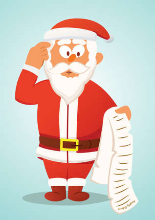 old people reading: Confused Santa Claus Reading List of Naughty Children  Illustration