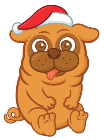 clipart wrinkles: Christmas Pug Cartoon