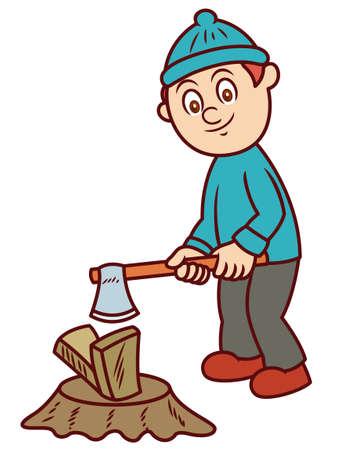 Man Chopping Wood with Axe Cartoon Illustration Illustration