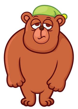Sleepy Bear Cartoon Illustration