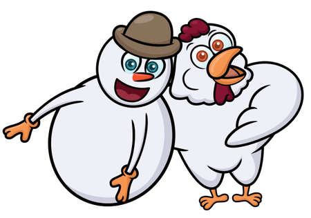 Snowman and Rooster Cartoon