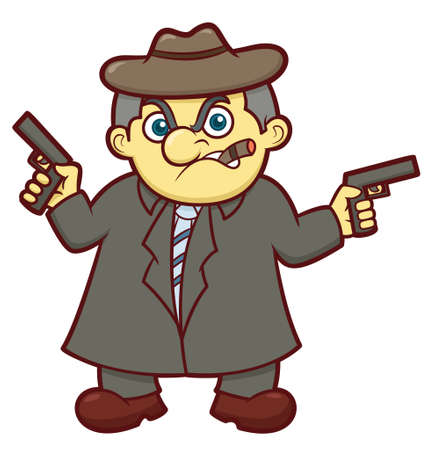 Gangster Boss with Guns Cartoon