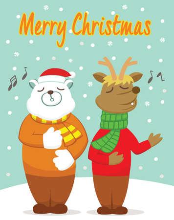 Polar Bear and Reindeer Singing in the Winter Cartoon Illustration