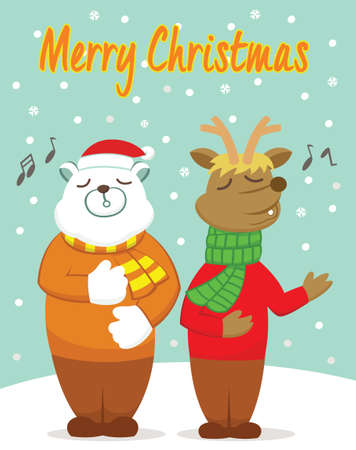 praise: Polar Bear and Reindeer Singing in the Winter Cartoon Illustration