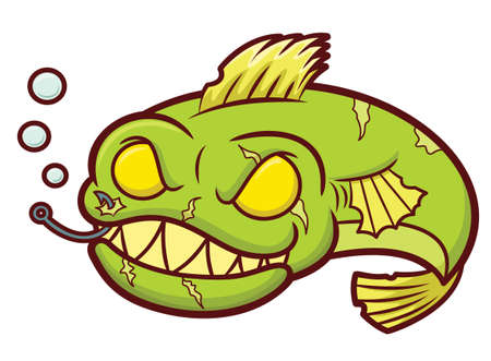 dead fish: Zombie Fish Cartoon