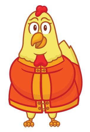 Gallo, llevando, chino, tradicional, tela, caricatura Foto de archivo - 69359990