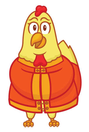 Rooster Wearing Chinese Traditional Cloth Cartoon