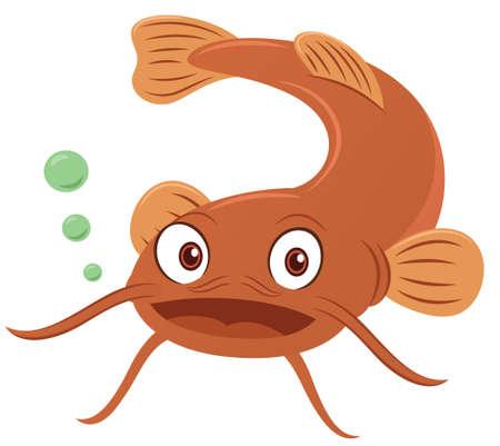 Catfish Cartoon Animal Character Isolated on White. Vector Illustration.