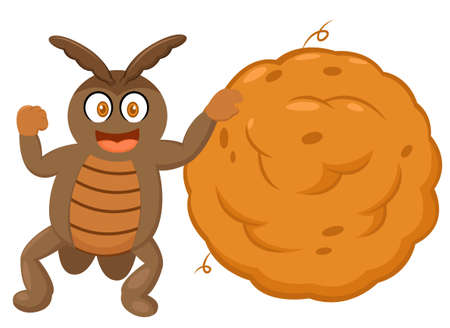 dung: Dung Beetle with Big Ball of Dung Cartoon Character Illustration