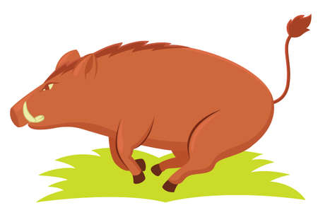 fang: Wild Boar Humping from the Grass Cartoon Animal Character. Vector Illustration.