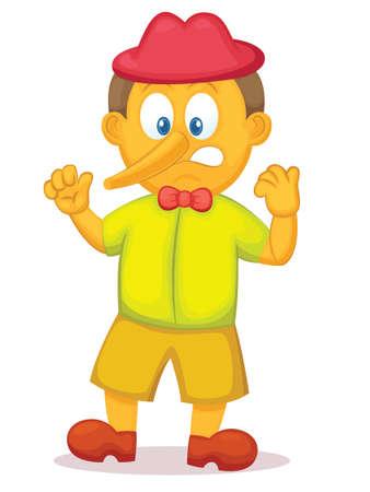 Divertido Pinocchio con la nariz larga personaje de dibujos animados. Ilustración del vector. Foto de archivo - 70174832