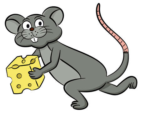 Mouse Running with Cheese Cartoon Illustration Isolated on White Background