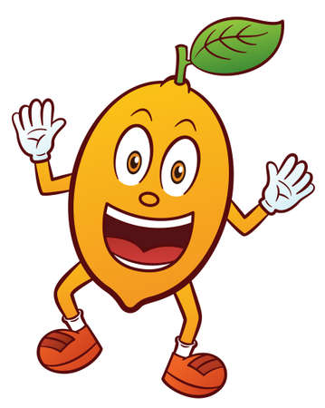 Personaje de dibujos animados de frutas de limón aislado sobre fondo blanco Foto de archivo - 70383497