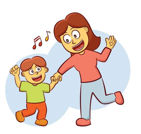 Boy Dancing with His Mother Cartoon Illustration Illustration
