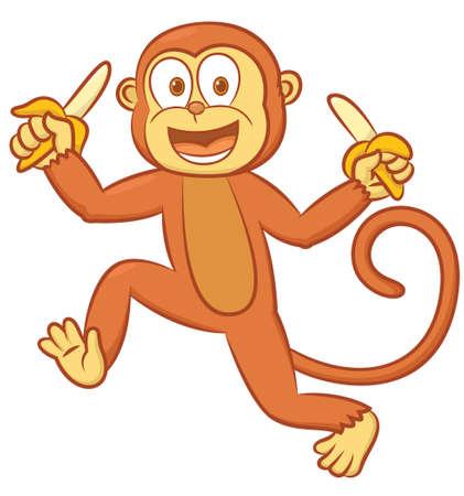 Cheerful Monkey with Bananas Cartoon Illustration Isolated on White Ilustração