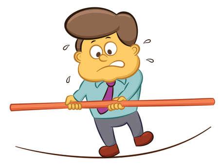 Businessman Doing Walk on Rope Cartoon Illustration 向量圖像