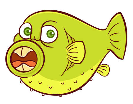 Wild Puffer Fish with Sharp Teeth in Opened Mouth Cartoon Illustration Isolated on White Background